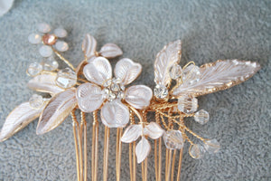 Matte Rose Gold Flower Leaf Bridal Hair Comb - BCW accessories