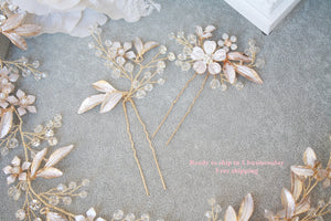Rose gold/ Matte Gold Flower, leaf bridal hair pin Set of 2, Bridal hair accessory, wedding hair accessory, Wedding accessory, Wedding,Bride - BCW accessories