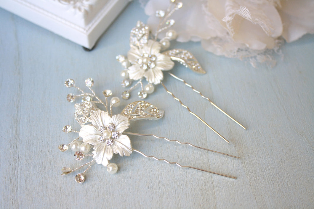 Set of 2 Silver Rhinestone Bridal Hair Pin - BCW accessories