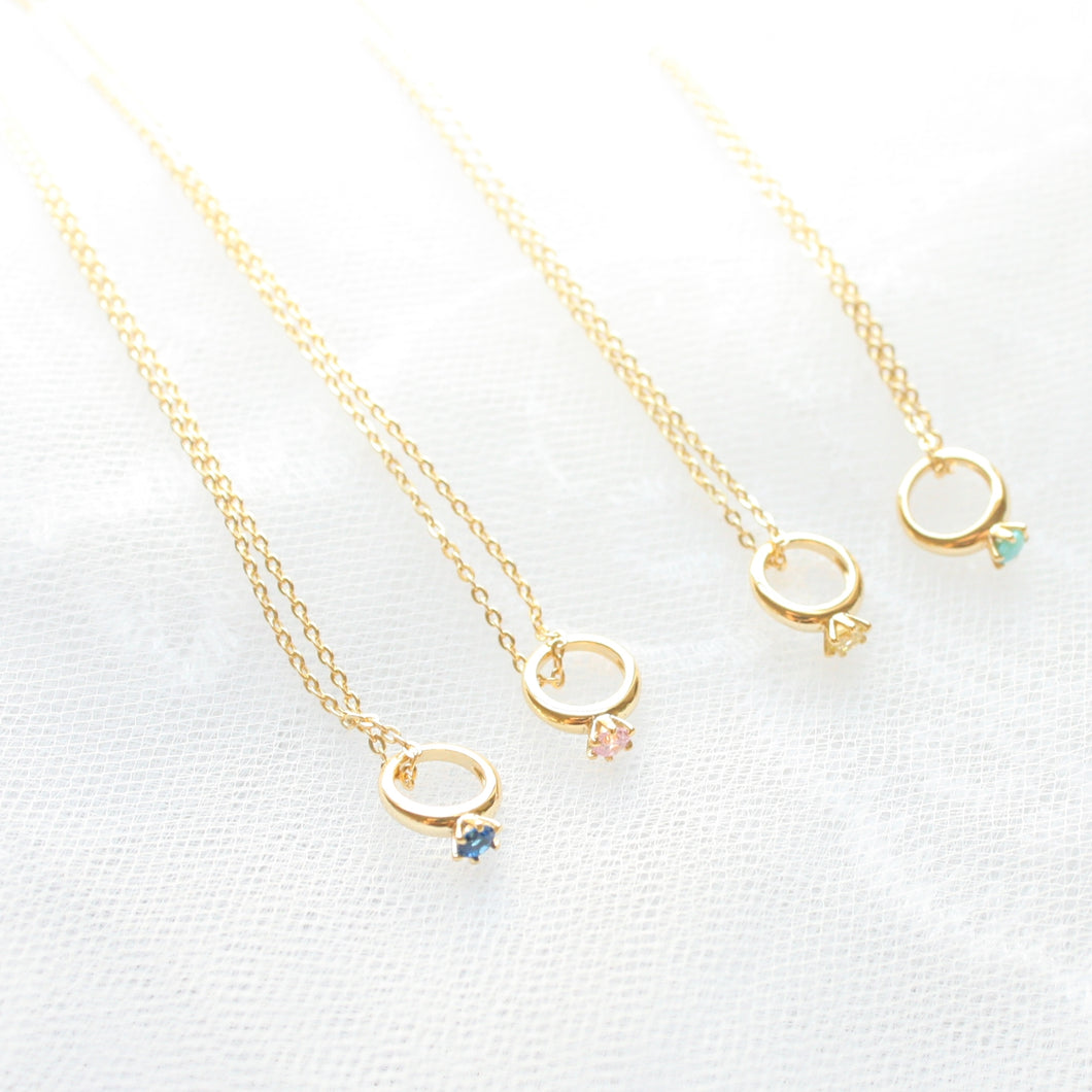 Baby Ring Birthstone Gold Necklace