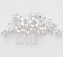 Load image into Gallery viewer, Wedding , silver , handmade ,crystal , Rhinestone , hair comb, silver leaf flower ,bridal hair accessories , hair accessories, Bride , comb - BCW accessories