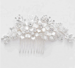 Wedding , silver , handmade ,crystal , Rhinestone , hair comb, silver leaf flower ,bridal hair accessories , hair accessories, Bride , comb - BCW accessories