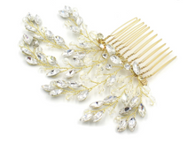 Load image into Gallery viewer, Bridal Crystal Hair Comb Gold - BCW accessories