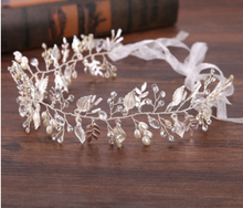 Load image into Gallery viewer, Rhinestone Crystal Leaf Headband With White Ribbon - BCW accessories