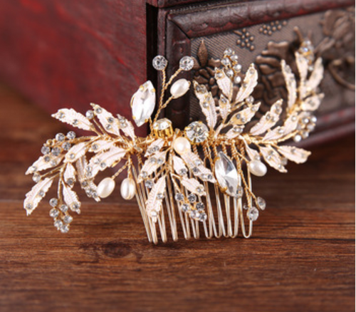 Gold Rhinestone leaf and pearl Bridal hair comb - BCW accessories