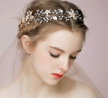 Load image into Gallery viewer, Bridal pearl flower headband Crystal - BCW accessories