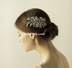 Floral Wedding  Silver  Bridal Hair Comb - BCW accessories