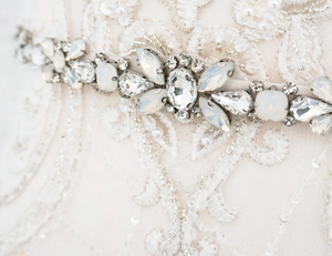 Opal Crystal Rhinestone Wedding Sash Belt - BCW accessories