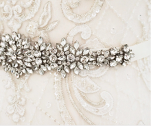 Load image into Gallery viewer, Antique Silver Crystal Flower Wedding Sash belt - BCW accessories