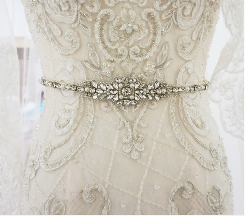 Antique Pearl And Crystal Wedding Sash Belt - BCW accessories