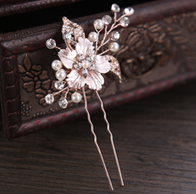 Load image into Gallery viewer, Set of 2 Rose Gold Flower Bridal Hair Pin - BCW accessories
