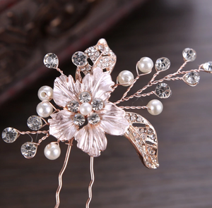 Set of 2 Rose Gold Flower Bridal Hair Pin - BCW accessories