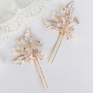 Set of 2 Rhinestone Flower Leaf Bridal Hair pins