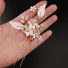 Load image into Gallery viewer, Set of 2 Rhinestone Flower Leaf Bridal Hair pins