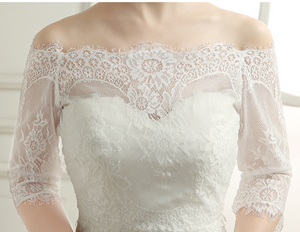 Elegant Off Shoulder Bridal Lace Bolero - BCW accessories