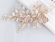 Load image into Gallery viewer, Rose Gold Flower With Rhinestones Bridal Hair Clip - BCW accessories
