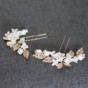 White Clay Flower Gold Leaf Pins 2 Set