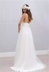 Beach Boho Open Back Wedding Dress