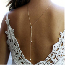 Load image into Gallery viewer, Gold and pearl back drop necklace
