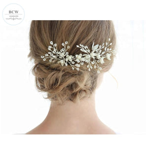 Set of 2 White Flower Rhinestone Bridal Hair Pin - BCW accessories