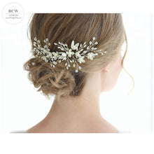 Load image into Gallery viewer, Set of 2 White Flower Rhinestone Bridal Hair Pin - BCW accessories