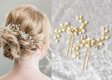 Load image into Gallery viewer, Set of 2 Bride Gold pearl crystal hair pin - BCW accessories