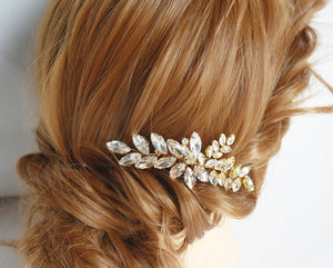 Gold crystal wedding bridal hair comb #122 - BCW accessories
