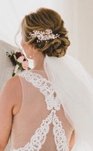 Load image into Gallery viewer, Rose Gold Flower With Rhinestones Bridal Hair Clip