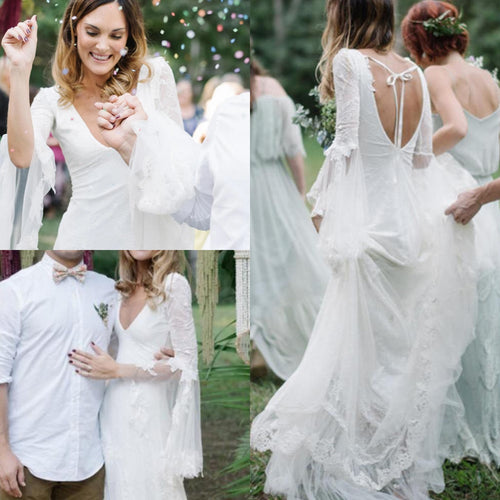 Boho Long Sleeve Deep V Neck Open Back Wedding Gown - BCW accessories