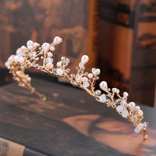 Load image into Gallery viewer, Gold Pearl Rhinestone Flower Crown
