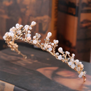Gold Pearl Rhinestone Flower Crown
