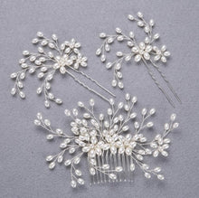 Load image into Gallery viewer, 3PCS Handmade Simulated Pearl Bead Bridal Hair Flower Hair Jewelry Prom Hair Comb Headpieces Women Girl Wedding Hair Accessories