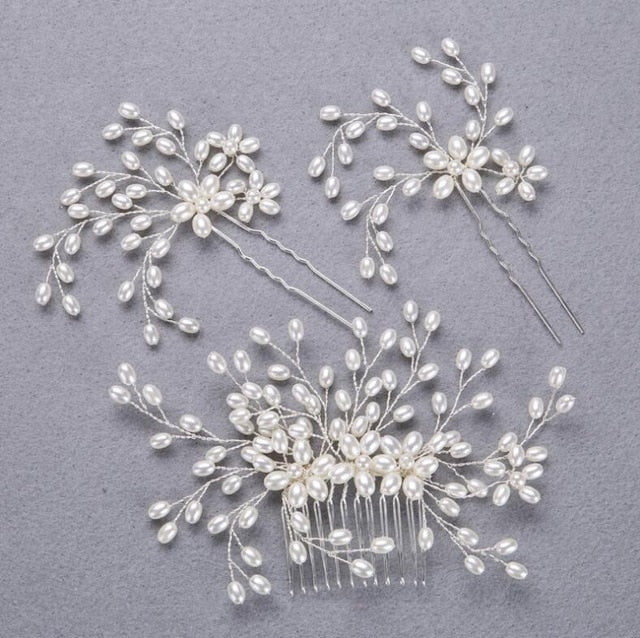 3PCS Handmade Simulated Pearl Bead Bridal Hair Flower Hair Jewelry Prom Hair Comb Headpieces Women Girl Wedding Hair Accessories