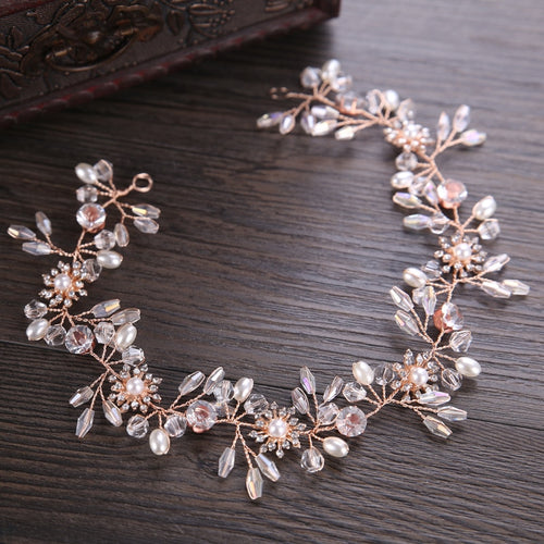 Rose Gold Wired Rhinestones Crystals Pearls Hair Vine