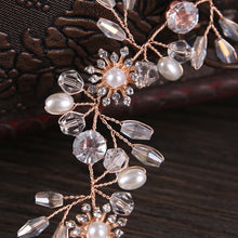 Load image into Gallery viewer, Rose Gold Wired Rhinestones Crystals Pearls Hair Vine