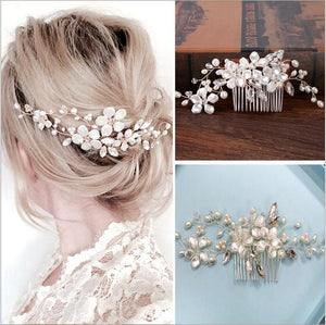 Bridal Hair Comb Pearl Flower