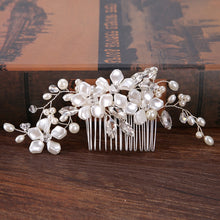Load image into Gallery viewer, Bridal Hair Comb Pearl Flower