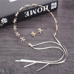Starfish Crystal  Wedding Hair Accessories/ Earring Set