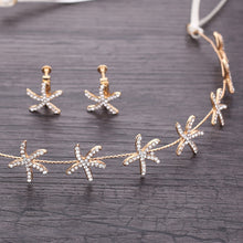 Load image into Gallery viewer, Starfish Crystal  Wedding Hair Accessories/ Earring Set