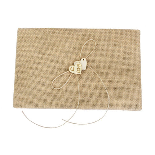 Village Burlap Hessian Wedding Guest Book