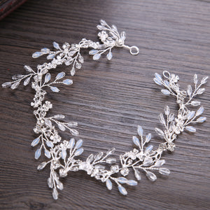 Crystal Beads Bridal Wedding Hair Vine Silver