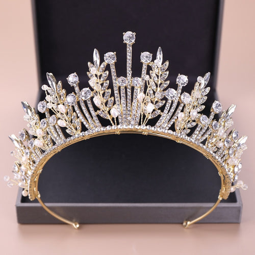 Baroque Luxury Bridal Crystal Leaf Crowns