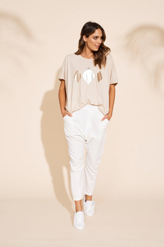 Eb and Ive Kalahari drop pant available in three colour ways 60% cotton 40% linen