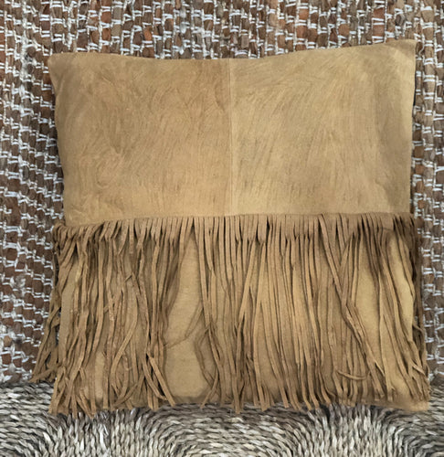 Suede leather cushion with fringe (250 x 250)