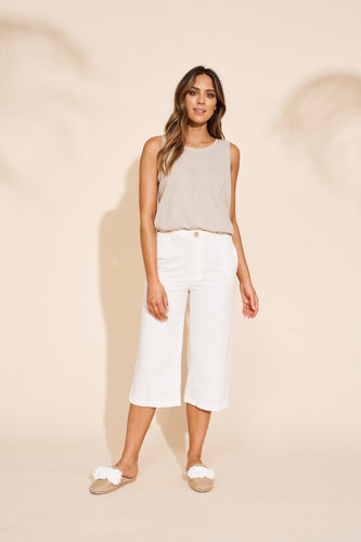 Eb and Ive Kalahari crop pant available in three colour ways 60% cotton 40% linen