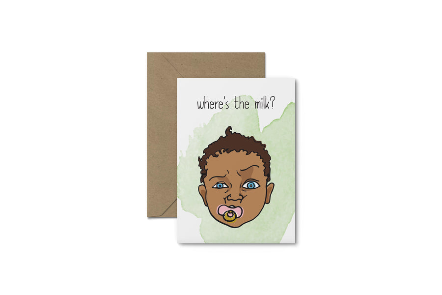Where's The Milk? Baby Shower Card - South of London