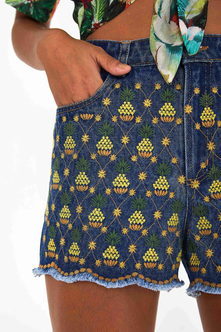 Pineapple Embroidered Shorts - South of London