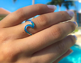 blue opal wave ring. fire opal wave ring, beach rings