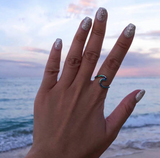nautical ring, ocean rings, opal wave ring, silver wave ring