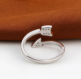 wanderlust ring, inspirational silver arrow ring